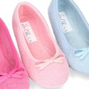 Terry cloth Home Ballet flat shoes with ribbon.