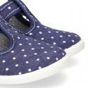 New STARS print design cotton canvas T-Strap shoes.