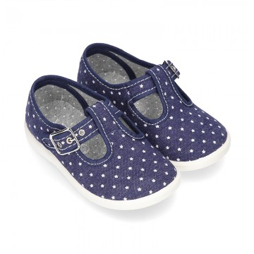 New STARS print design cotton canvas T-Strap shoes.