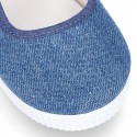 Cotton Canvas Little Girl Mary Jane shoes with hook and loop strap.
