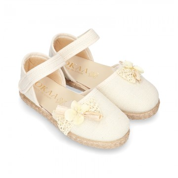 CEREMONY Linen canvas espadrille shoes with Ribbon and Flower design.