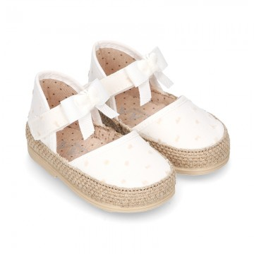 PLUMETI COTTON canvas baby espadrille shoes with BUTTERFLY design and velcro strap.