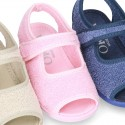 Terry cloth Home shoes SANDAL style with velcro strap.