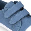 Zapatilla niños con puntera y sin cordones en lona algodón.
