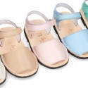 EXTRA SOFT leather Menorquina sandals with hook and loop strap in pastel colors.
