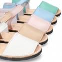 Menorquina niños piel EXTRA SUAVE cierre adherente colores pasteles.