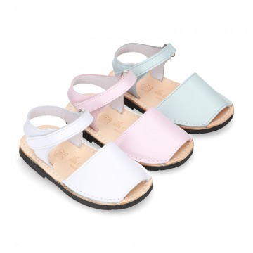 SOFT leather Menorquina sandals with hook and loop strap.
