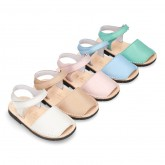 EXTRA SOFT leather kids Menorquina sandals with hook and loop strap in pastel colors.