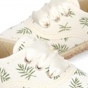 LEAVES print design Cotton canvas Bamba shoes espadrille style.