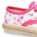 FLOWERS print design Cotton canvas Bamba shoes espadrille style.