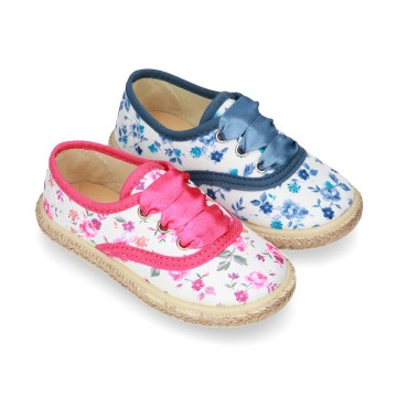 FLOWERS print design Cotton canvas Bamba shoes espadrille style.