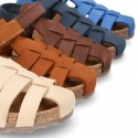 Nobuck leather sandals BIO style for kids.