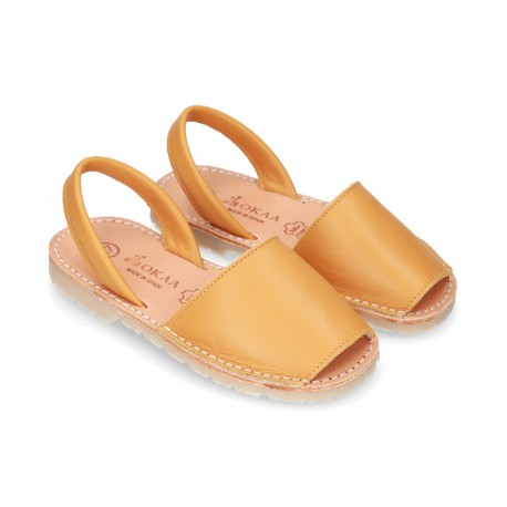 Exrtra Soft nappa leather Menorquina sandals with rear strap in MUSTARD color.