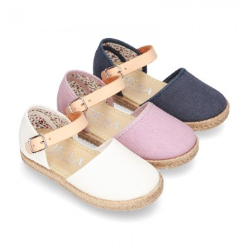 Cotton canvas little espadrille style shoes with FOWERS design lining.