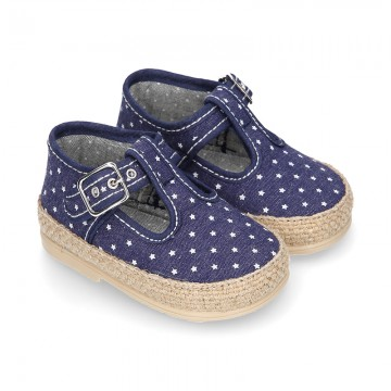 STARS print design cotton canvas little T-Strap shoes espadrille style for babies.