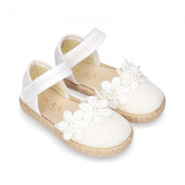 WhiteLinen canvas espadrille shoes with velcro strap and flower design for CEREMONIES.