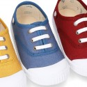 New Cotton canvas Bamba shoes with toe cap and shoelaces.