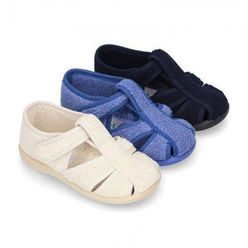 Terry cloth Home shoes T-STRAP SANDAL style with velcro strap.