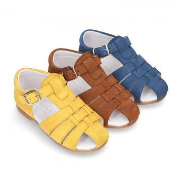 Suede leather little Sandal shoes with buckle fastening.