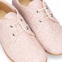 NUDE GLITTER classic OXFORD shoes with shoelaces closure.