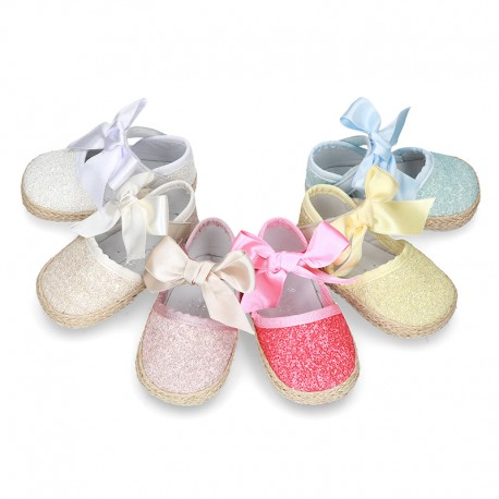 BABY leather espadrille shoes with GLITTER designs velcro strap and ribbon.
