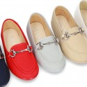 Cotton canvas Moccasin shoes with stirrup detail for toddler boys.