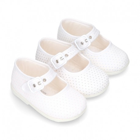 Cotton canvas little Mary Jane shoes with pink polka dots design for baby girls.