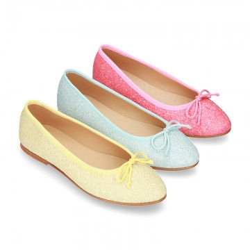 New Fashion SOFT GLITTER Ballet Flats with adjustable ribbon.