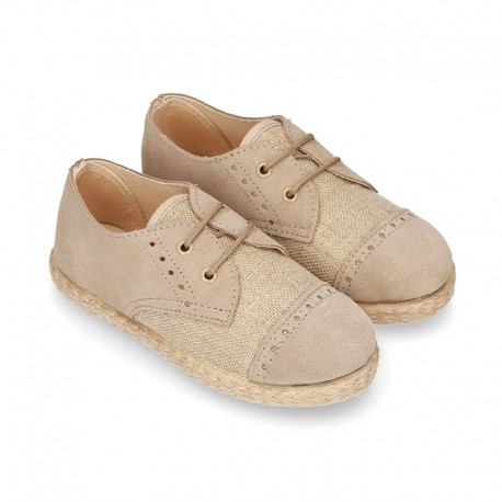 NATURAL LINEN canvas Laces up shoes espadrille style combined with suede leather.