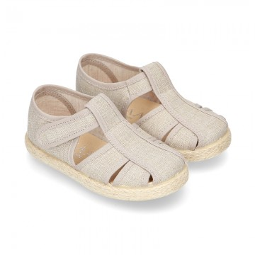 Cotton canvas Sandal T-Strap espadrille shoes with velcro strap.