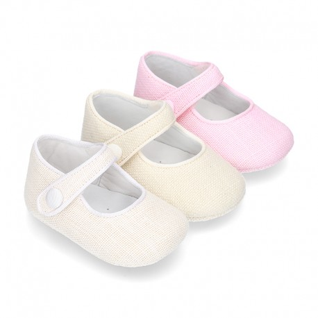 LINEN canvas Little Mary Janes with velcro strap and button for babies.