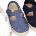 Pique Cotton canvas Sandal T-Strap espadrille shoes with velcro strap.