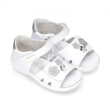 Little Washable leather sandals with front velcro strap, flowers design and SUPER FLEXIBLE soles.
