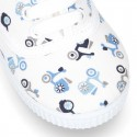 New Cotton canvas sneaker shoes with MOTORCYCLES print design.