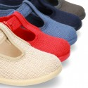 New LINEN canvas T-strap shoes for little kids.