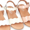 PATENT Leather Sandal shoes with Waves design for toddler girls.