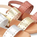 Leather sandal shoes to dress with two rear straps and chopped design for girls.
