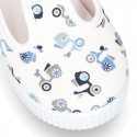 New Cotton canvas T-Strap sneaker shoes with MOTORCYCLES print design.