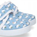 New Cotton canvas sneaker shoes with velcro strap closure and CHICKS print design.