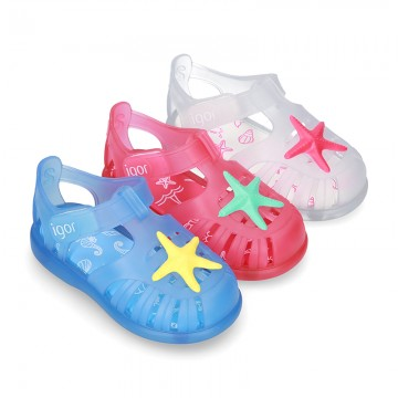 Classic style jelly shoes for the Beach and Pool with velcro strap and STARFISH design.