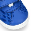 New Washable leather SUMMER tennis shoes combined with canvas with velcro strap and stripes design.