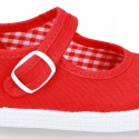 Cotton Canvas Little Mary Jane shoes with buckle fastening and clip and sneaker type sole.