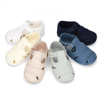 New little Cotton canvas T-Strap SANDAL style shoes.