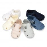 New little Cotton canvas T-Strap SANDAL style shoes.