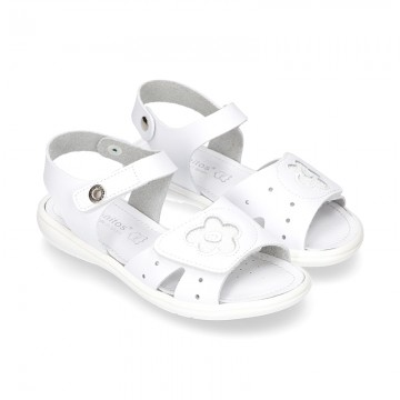 Washable leather sandals with front FLOWER velcro strap and SUPER FLEXIBLE outsole.