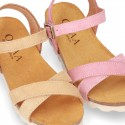New Suede leather sandal shoes BIO style to dress with crossed straps and buckle fastening.