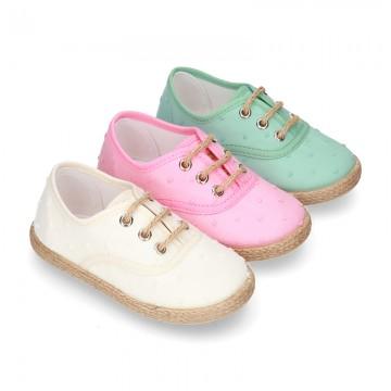PLUMETI COTTON canvas little laces-up shoes espadrille style in pastel colors for kids.