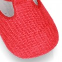 LINEN canvas Little T-Strap shoes with velcro strap and button for babies.