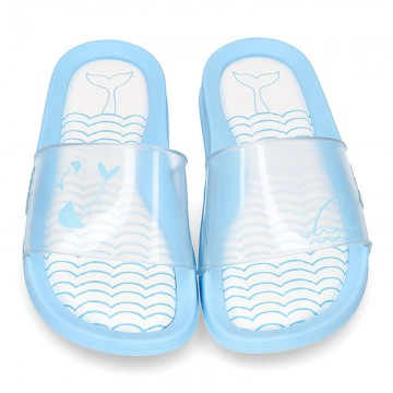 New classic CLOG jelly shoes style in crystal color with FISH design.