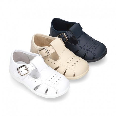 Little Washable leather sandals with PERFORATED design and SUPER FLEXIBLE soles.